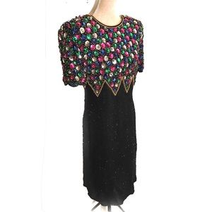 Vintage silk and sequin cocktail dress